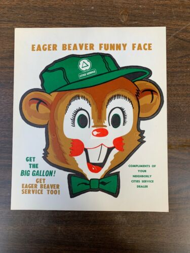 Vintage Cities Service Eager Beaver Funny Face Mask NOS