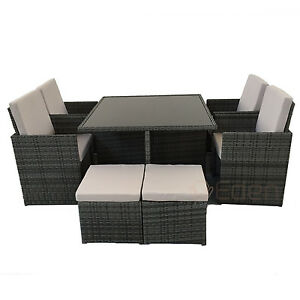 Grey Wicker Chairs 8-seater 9-piece grey rattan cube dining glass table/chair set