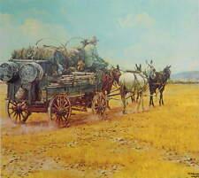 Cowboys Supply Wagon pulled by Mules,  by Kenneth Wyatt