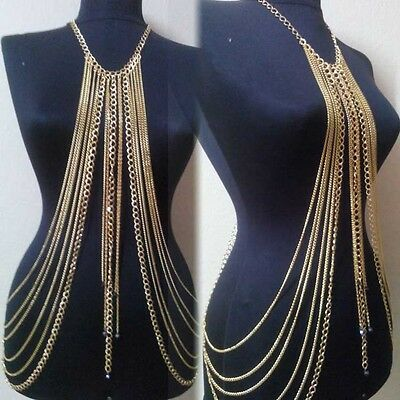 Vtg Sexy Womens Layered Tassel Harness Bikini Necklace Belly Waist Body Chains C