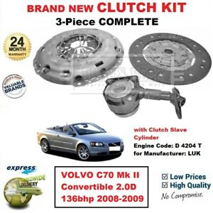 FOR VOLVO C70 Mk II Convertible 2.0D 136bhp 2008-2009 NEW 3PC CLUTCH KIT and CSC