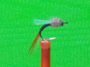 Black Zebra Midge Nymph Fly with flash wing  sz 18  GO TO  PATTERN