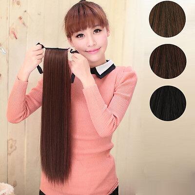 Cheveux Extension Femme Perruque Queue de Cheval Long Attaché Droit