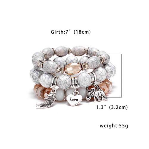 Boho multicouche Pierre Naturelle Cristal Bead Tassel Pendentif Chaîne Bracelet Bangle