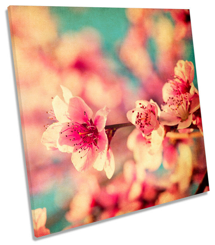 Blossom Floral Flowers Grunge SQUARE CANVAS WALL ART Picture Print