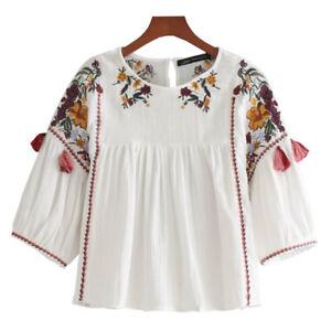 Lady-Camisa-Top-Bordado-De-Flores-Retro-Mangas-3-4-Blusa-Cuello-Bote-De-Ajuste-Holgado