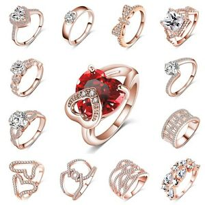 Size-5-9-Crystal-Jewelry-Women-Engagement-Wedding-Ring-18K-Rose-Gold-Filled