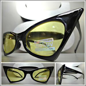 3f93e49d87 EXAGGERATED RETRO Pointy CAT EYE Style EYE GLASSES Small Black Frame ...