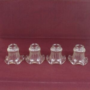 4 Clair Verre Texturé Luminaire Ventilateur de plafond Lampe à volants Shades