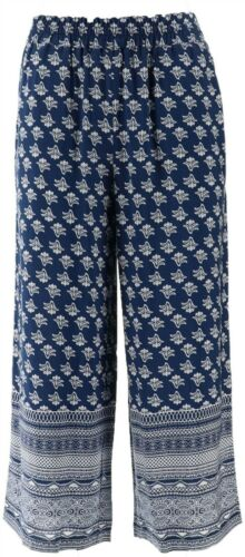 Curations Printed-Border Cropped Palazzo Pant NAVY WHITE XS NEW 599-678