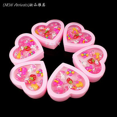 Wholesale 10pcs Mixed Assorted Flower Animal Cartoon Girl Children Rings Boxed