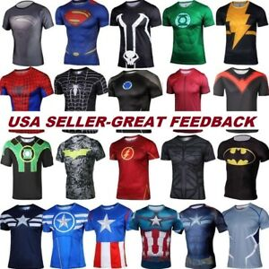49bec4a2 Image is loading Marvel-Superhero-Compression-T-Shirt-Running-Sports -Fitness-