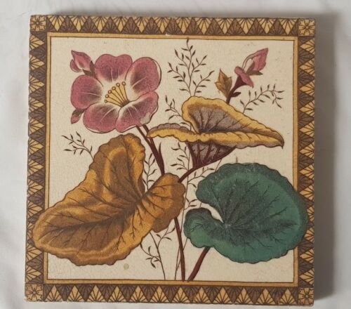 STUNNING ENGLISH PERIOD FLORAL  6 INCH TILE