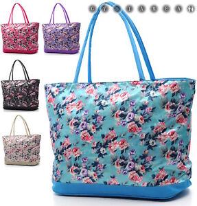 prodotti di qualità all'ingrosso super economico borsa mare grande gigante donna impermeabile nylon fantasia fiori ...