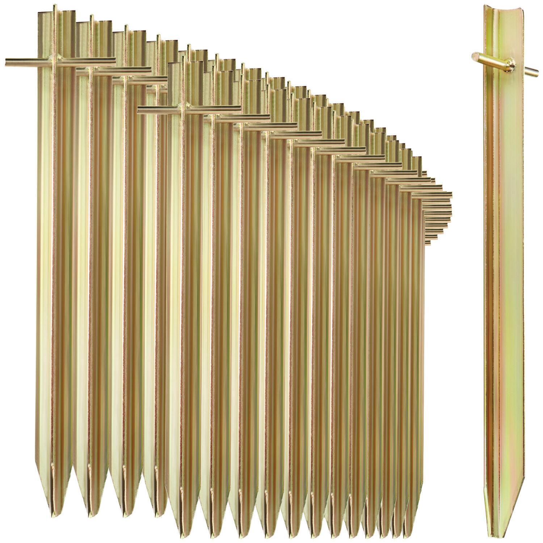 36x Zelt-Heringe aus Stahl - lange und robuste Erdnägel mit T-Profil, 29,5 cm