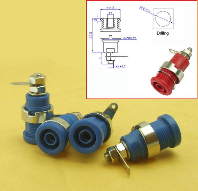 10pcs Blue Speaker Banana 4mm Male Plug Screw Connector Adapter Converter