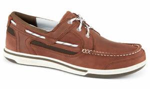 Sebago-Triton-Three-Eye-Deck-Boat-Shoe-Men-039-s-7000GF0-983-Brown-Dark-Brown-NEW