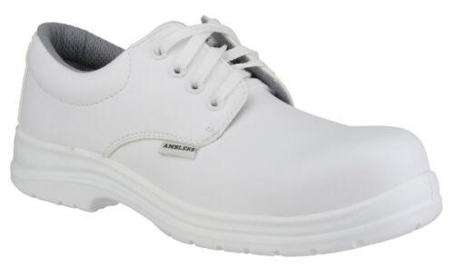 Homme Chaussures de sécurité//Blanc Composite métal libre LACED cuisine hygiène Amblers