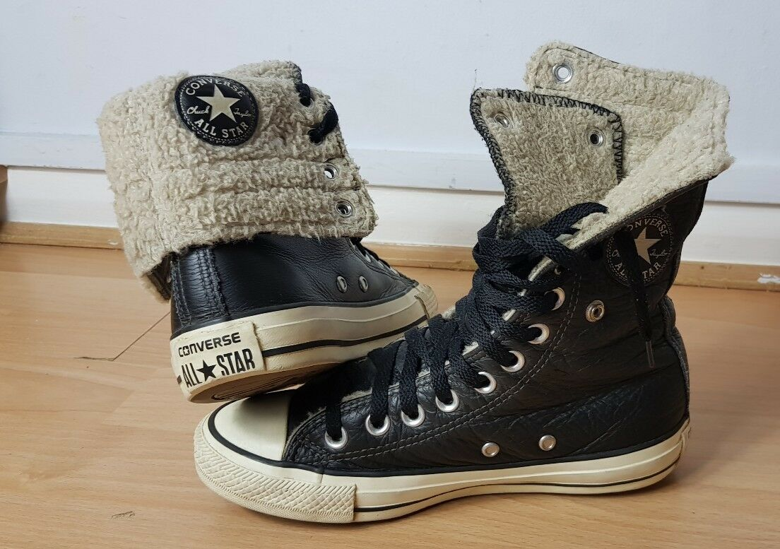 Converse Womens All Star Hi Tops Womens Converse GirlsFur Lined Fold down Trainers Shoes fd2643