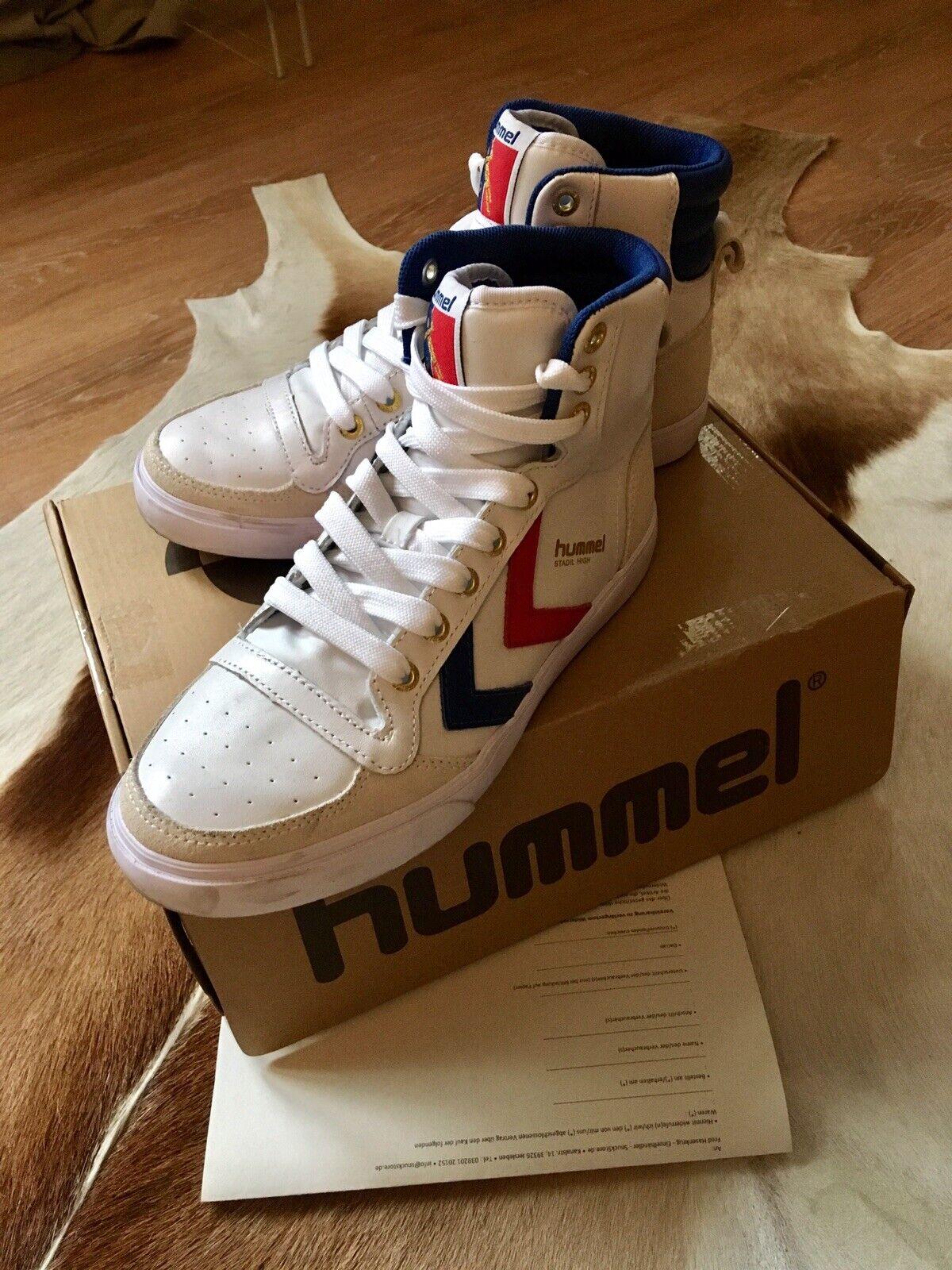 Hummel,Turnschuhe,Turnschuh,Slimmer Stadil High,Leder,blau,weiss,rot, Gr. 38