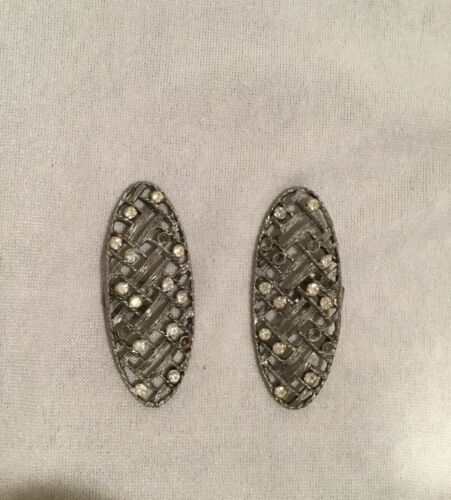 Beautiful decoration Gorgeous French Holfast vintageantique shoe clips very decorative silver metal with rhinestones