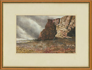 Chic-D-Jack-Signed-Mid-20th-Century-Watercolour-Storm-Brewing-South-Coast