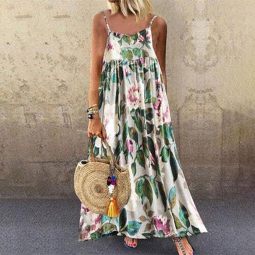 Damen Blumen Maxikleid Rückenfrei Sommerkleid Strandkleid Locker Trägerkleid 44