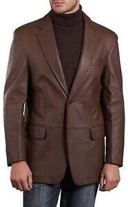 Men's Genuine Lambskin Leather Brown Blazer Celebrity Style Smart Coat BLDT