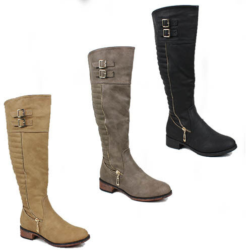 WOMENS LOW BLOCK HEEL QUILTED ZIP FASHION KNEE HIGH BOOTS LADIES SHOES SIZE 3-8