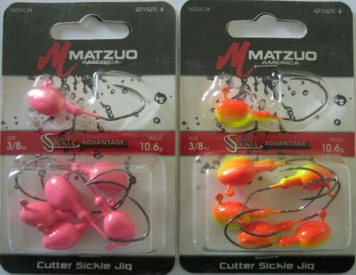 MATZUO Cutter Sickle Jig 2 - Two Hot Colors! 3//8 oz 5//Pk