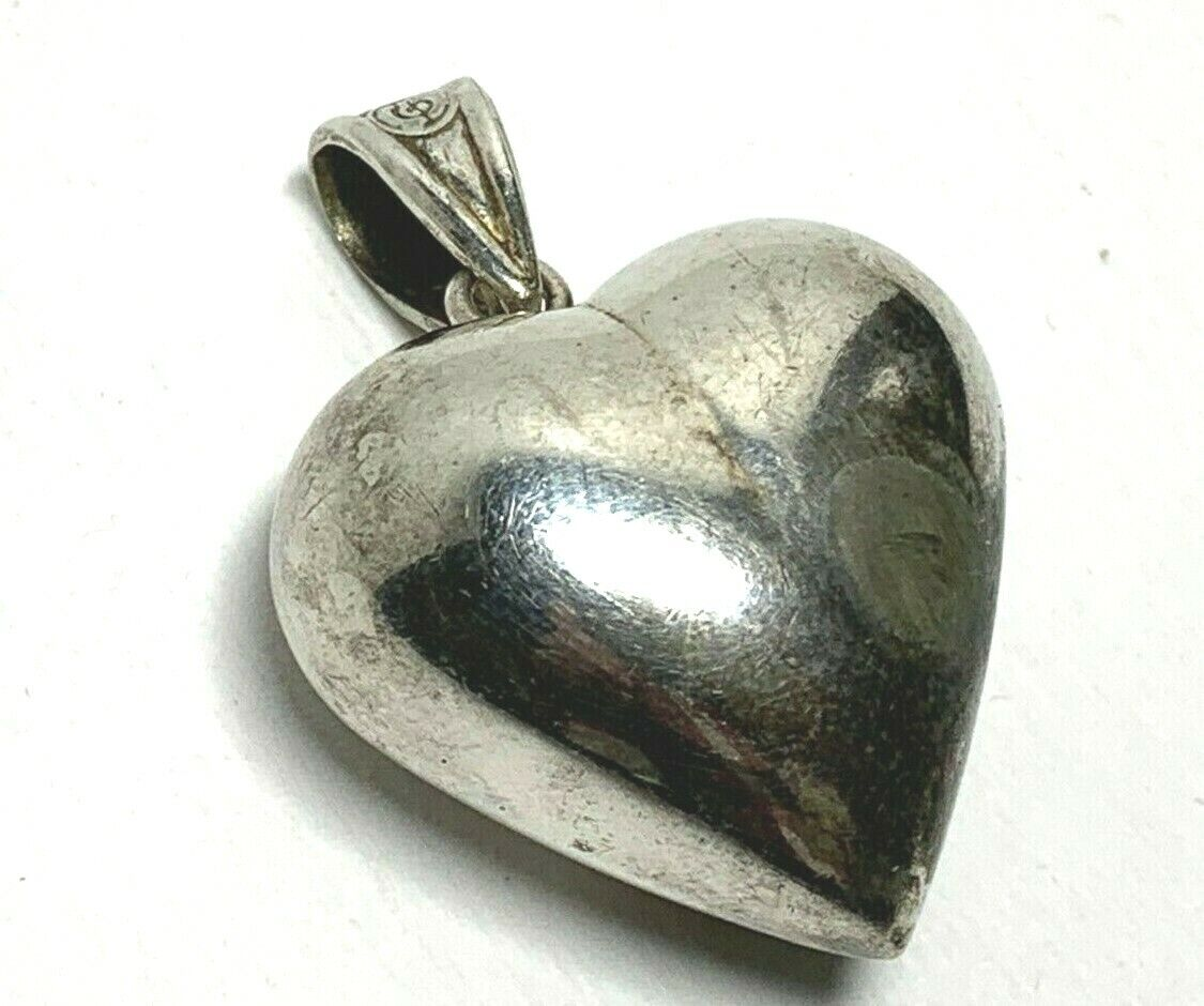 Vintage Sterling Silver Intricate Puff Heart Charm  Pendant