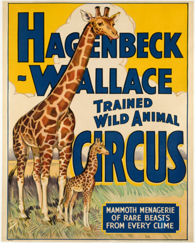 Animal Circus giraffe Advert On ENAMEL TYPE METAL TIN SIGN WALL PLAQUE