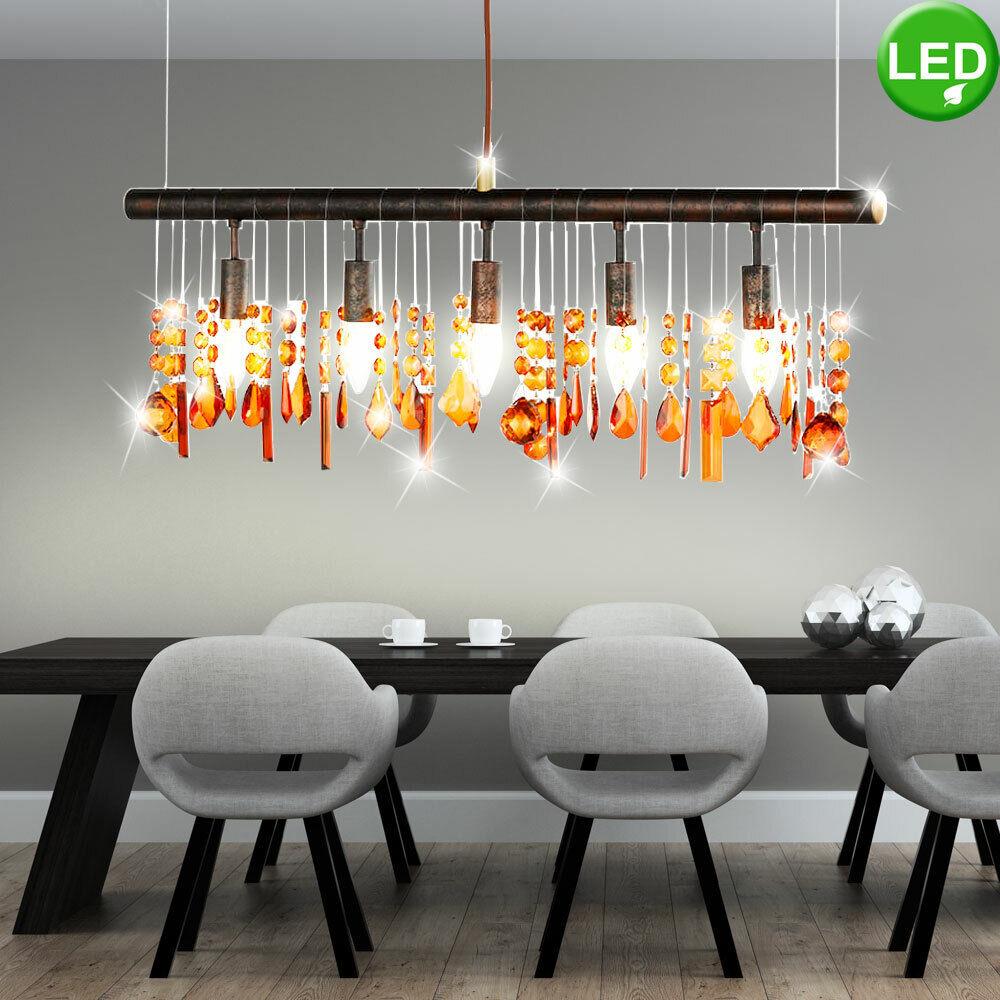 Landhaus Stil LED Decken Pendel Lampe Kristall Behang Filament Hänge Leuchte