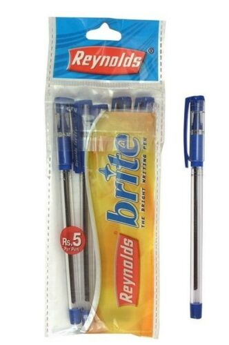 5x Reynolds Brite Blue Ball point PenSmudge free home school office use
