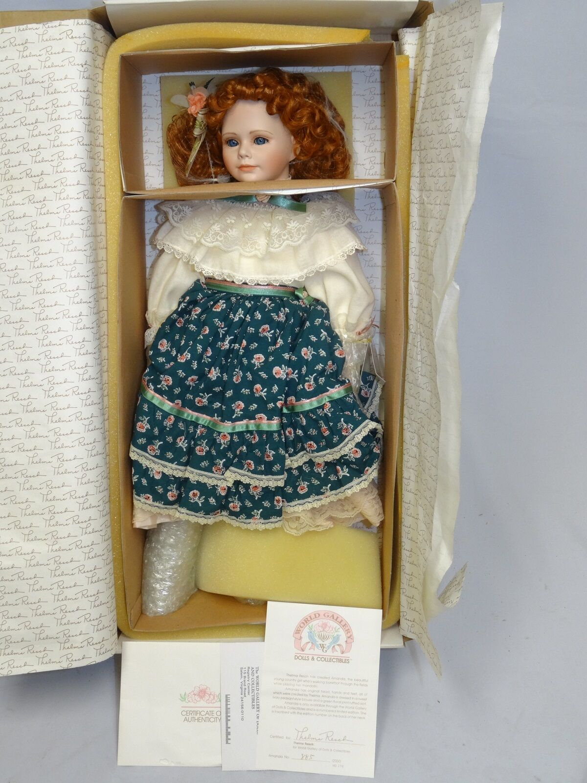 LIMITED 885 2000 AMANDA by THELMA RESCH WORLD GALLERY DOLL  23   NIB