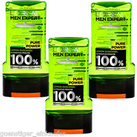 3x 300ml Loreal Men Expert Pure Power Lemon Shower Gel 100% Mens