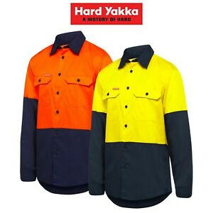 Mens-Hard-Yakka-Core-Hi-Vis-Vented-Cotton-Twill-Work-Long-Sleeve-Shirt-Y07950