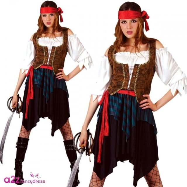 Caribbean Pirate Xl Plus Size 22 24 Ladies Fancy Dress Costume Lady