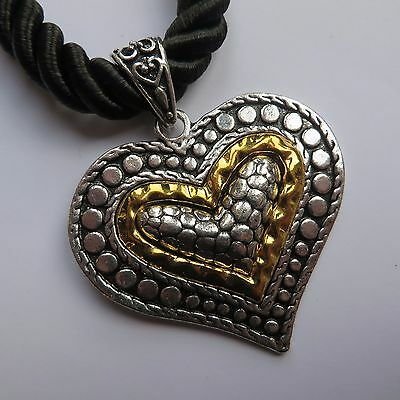 LARGE GOTHIC STEAMPUNK GOLD & SILVER STATEMENT HEART SHAPED PENDANT NECKLACE new
