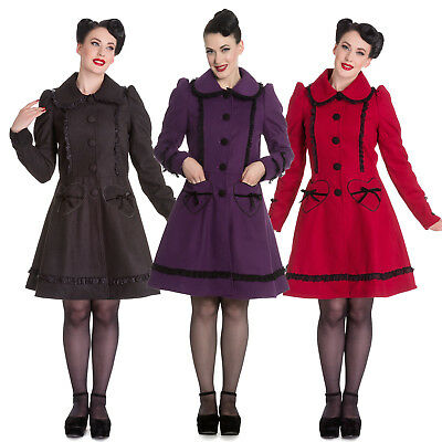 Hell Bunny Courtney Lace Lolita Vintage Retro 1950s Heart Pockets Winter Coat