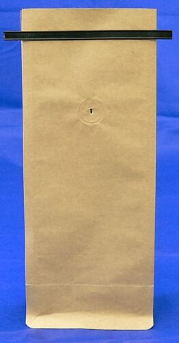 BAP 100 12-16 oz Kraft Side Gusseted Block Bottom Coffee Bags Valve and Tin Tie