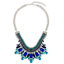 Statement Bib Necklace Jewel Crystal Fashion Blue Chunky Silver Unique | 50% OFF