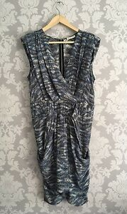 Whistles-Stunning-Dusky-Blue-Animal-Print-Pure-Silk-Dress-Uk-12