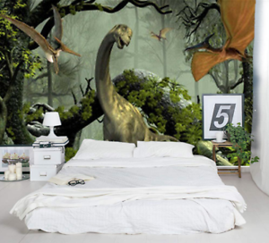 Details about 3D Foggy Forest Dinosaur Self-adhesive Kid\'s Bedroom Wall  Murals Wallpaper Decor