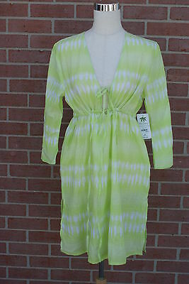 Women's Palm Island Top Tunic DRESS Cover Up Green/White Size M New w/ Tags !!!