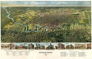 MAP-HOUSTON-TEXAS-1891-VINTAGE-LARGE-WALL-ART-PRINT-POSTER-PICTURE-LF2583