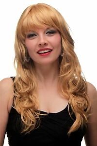 Details About Wig Ladies Curly Long Layered Fringe Braun Blonde Streaked Platinum Highlights