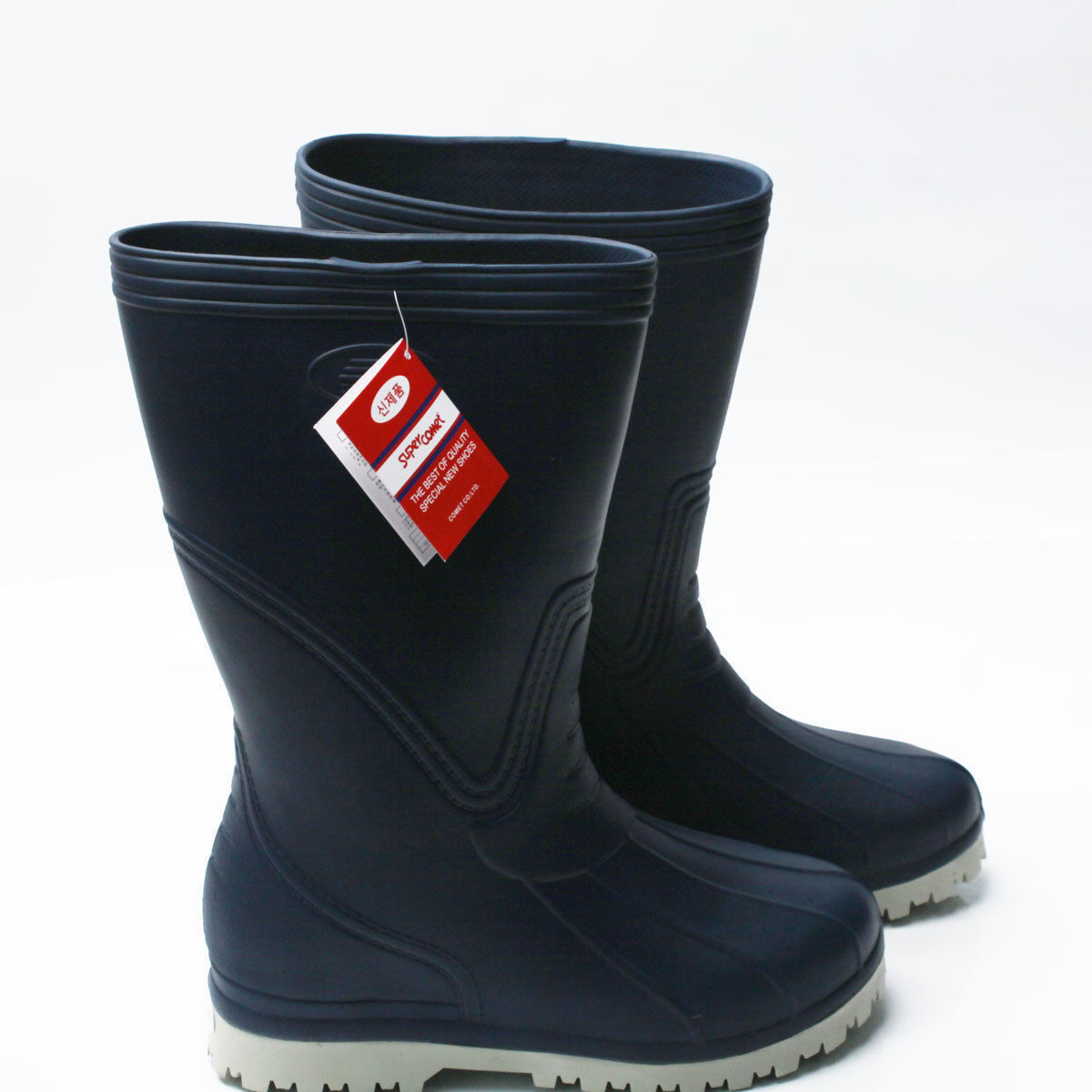Mens Waterproof Rubber Rain Boots Work Safety Non-Slip Super Light