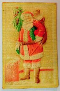 1910-Embossed-Art-SANTA-CLAUS-CHRISTMAS-POSTCARD-TOY-BAG-SACK-Vintage-Antique