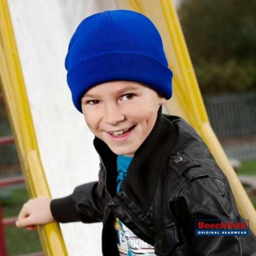 CHILDRENS KIDS BEANIE WINTER HAT WARM KNIT KNITTED SKI SOFT UNISEX TURN UP STYLE